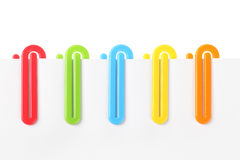 Colourful Plastic Paper Clips Royalty Free Stock Images