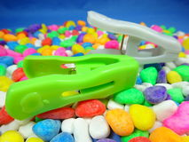 Colourful plastic pegs Royalty Free Stock Photos