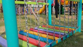 Colourful playground for kid . Chain ladder stairs Stock Photo