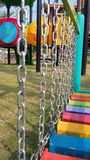 Colourful playground for kid . Chain ladder stairs Stock Photography