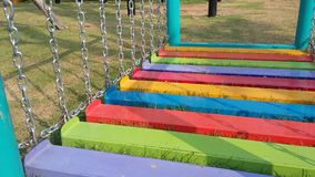 Colourful playground for kid . Chain ladder stairs Stock Photos