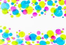 Colourful pluśnięcie kropki watercolour rama, sztuki tekstury tło Fotografia Stock