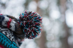 Colourful pompon of hat. Beautiful background. Macro. stock images