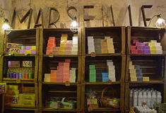 Colourful and popular Marseille soap on wall shelves inside a shop Royalty Free Stock Photography