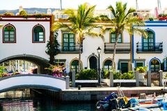 Colourful port with palm trees in Puerto De Mogan Royalty Free Stock Photo