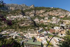 Colourful Positano, the jewel of the Amalfi Coast,. Colourful Posi, the jewel of the Amalfi Coast, with its multicoloured homes and buildings perched on a large Stock Photography