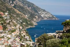 Colourful Positano, the jewel of the Amalfi Coast,. With its multicoloured homes and buildings perched on a large hill overlooking the sea. Italy Royalty Free Stock Photography