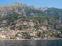 Colourful Positano, the jewel of the Amalfi Coast,. With its multicoloured homes and buildings perched on a large hill overlooking the sea. Italy Stock Photos