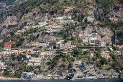 Colourful Positano, the jewel of the Amalfi Coast, with its multicoloured homes and buildings perched on a large hill overlooking. Positano, Italy - June 12 Stock Photos