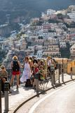 Colourful Positano, the jewel of the Amalfi Coast, with its multicoloured homes and buildings perched on a large hill overlooking. Positano, Italy - June 12 Stock Images