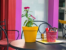 Colourful Pots on Cafe Table Stock Images