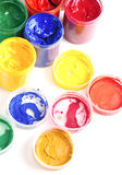 Colourful pots of gouache paint Royalty Free Stock Image