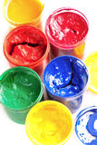 Colourful pots of gouache paint Stock Photo