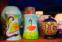 Colourful pottery. Two handmade pottery vases and a nice colourful jar Stock Photography