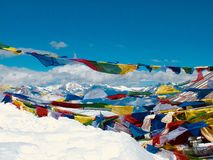 Prayer flags on Mount Everest Stock Photo