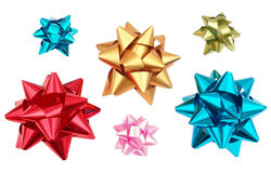 Colourful Present Bows. Wrapping decoration isolated on white Stock Images