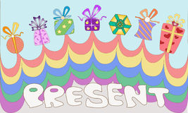 Colourful present box. For e-card or else Stock Photos