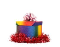 Colourful present box and pink bow. Royalty Free Stock Photography