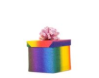 Colourful present box and pink bow. Royalty Free Stock Photos