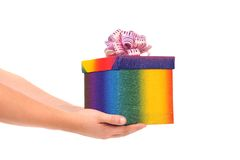 Colourful present box and pink bow. Stock Image