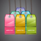 Colourful Price Tags. A set of colourful price tags with holes and threads Stock Images