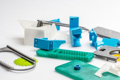 Colourful printed parts using 3d printer Royalty Free Stock Photography