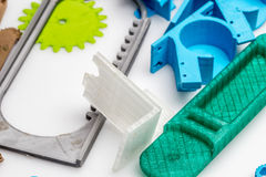Colourful printed parts using 3d printer. These are the  prototyping materials that going to be used in project Royalty Free Stock Images