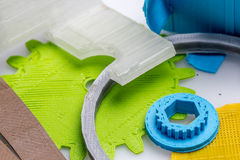 Colourful printed parts using 3d printer. These are the  prototyping materials that going to be used in project Stock Image
