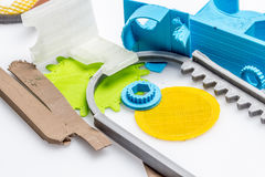 Colourful printed parts using 3d printer. These are the  prototyping materials that going to be used in project Stock Images