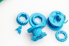 Colourful printed parts using 3d printer. These are the  prototyping materials that going to be used in project Royalty Free Stock Image