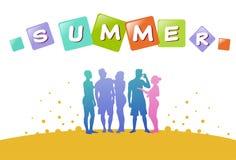 Colourful przypadkowi ludzie sylwetek, grupa różnorodność relaksują lato istoty ludzkiej, pomyślny drużynowy pojęcie, A4 ilustracji