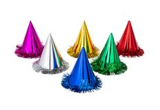 Colourful purple, white, yellow, red, green, blue and bright party hats royalty free stock photo