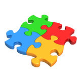 Colourful Puzzle Pieces. Fit, connect and link together to symbolise teamwork, connection, success, support etc. Isolated on white with no surrounding shadows Stock Images