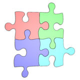 Colourful Puzzles straight. Four colourfull puzzle pieces. Isolated on white Royalty Free Stock Photography