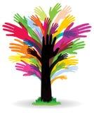 Colourful ręki drzewo royalty ilustracja