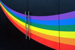Colourful Rainbow Painted on Black Wall Royalty Free Stock Photography