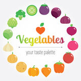 Colourful rainbow round vegetables background with place for logo or text. Vector modern illustration, stylish design element Royalty Free Stock Image