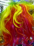 Colourful rainbow wig closeup Stock Images