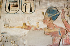 Colourful Ramses II Carving Stock Photography