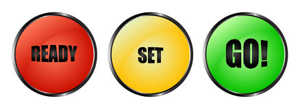 Colourful ready set go buttons Royalty Free Stock Images