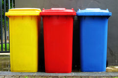 Colourful recycle bins Stock Photography
