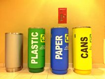 Colourful recycle bins Royalty Free Stock Images