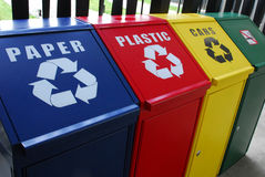 Colourful recycle bins Stock Images