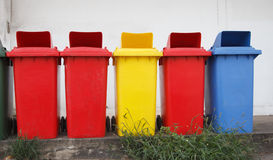 Colourful recycle bins Stock Photo