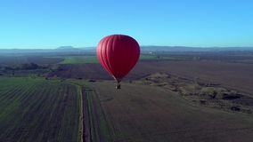 Colourful Red Blue Yellow Colours Hot Air Baloons Aerial Drone Flight Over Beautiful Autumn Forrest at Sunet Mountains