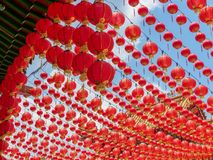 Colourful Red Canopy of Chinese Lanterns at Thean Hou Temple in Kuala Lumpur stock photo