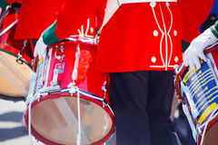 Colourful red closeup of  british military drummer Royalty Free Stock Photo