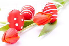 Colourful red Easter still life. With delicate fresh spring tulips and handpainted traditional Easter Eggs arranged on a white background with copyspace for stock images