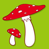 Colourful red spotted fly agaric. Cartoon illustration of colourful red spotted fly agaric mushrooms on a green background Stock Photos