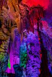 Colourful Reed flute cave in China. Royalty Free Stock Images